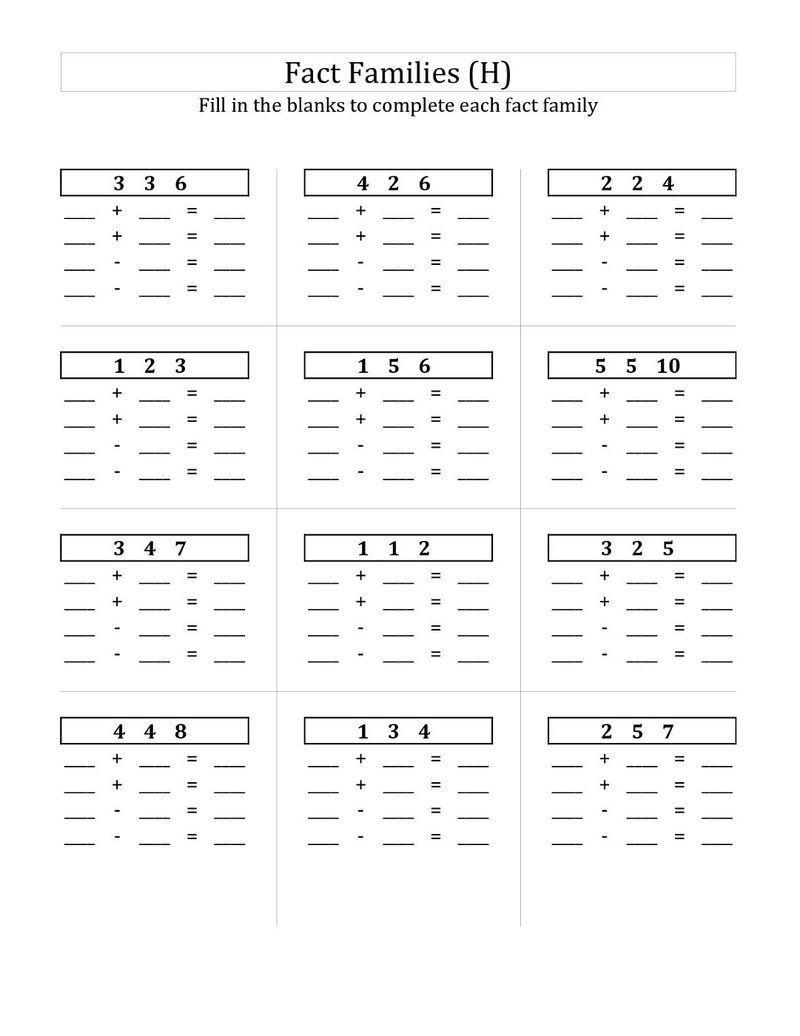 Fact Families Worksheets Free