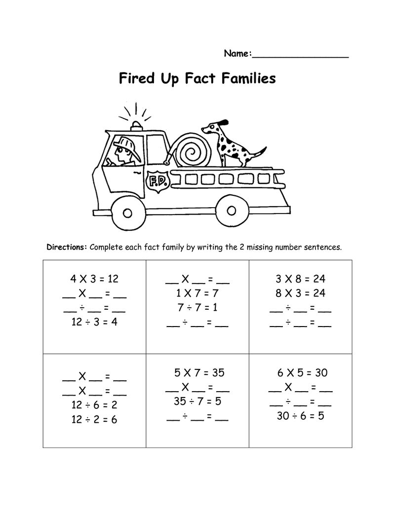 Fact Family Worksheets Fireup