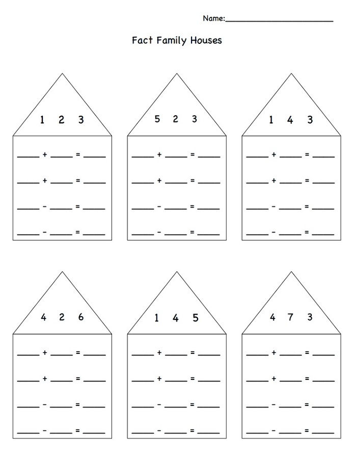 Fact Family Worksheets For First Grade House
