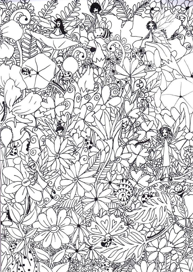 Fairies In Garden Coloring Pages For Adults