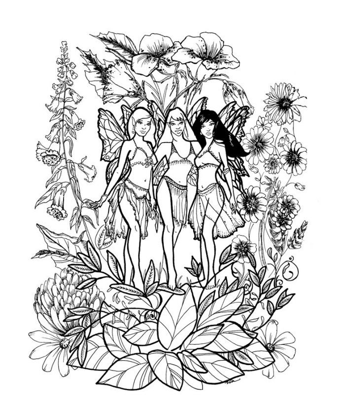 Fairies In The Flowers Coloring Page Free