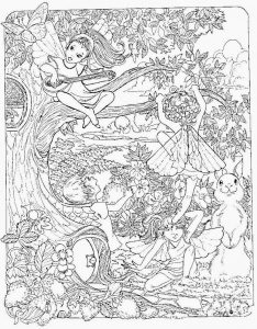 Fairies in the trees coloring page