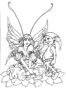 Fairy and gnome coloring pages