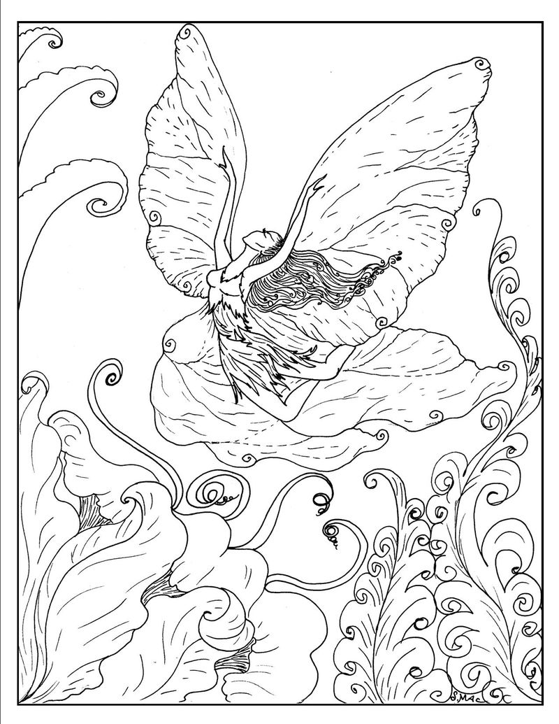 Fairy Fantasy Coloring Pages 001