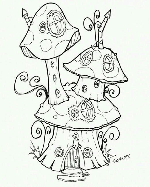 Fairy Garden Mushroom Home To Color