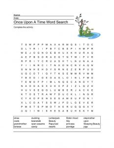 Fairy tale word search once upon