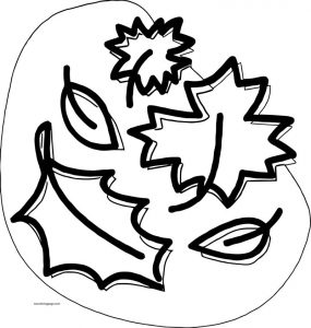 Fall bold leaf coloring page