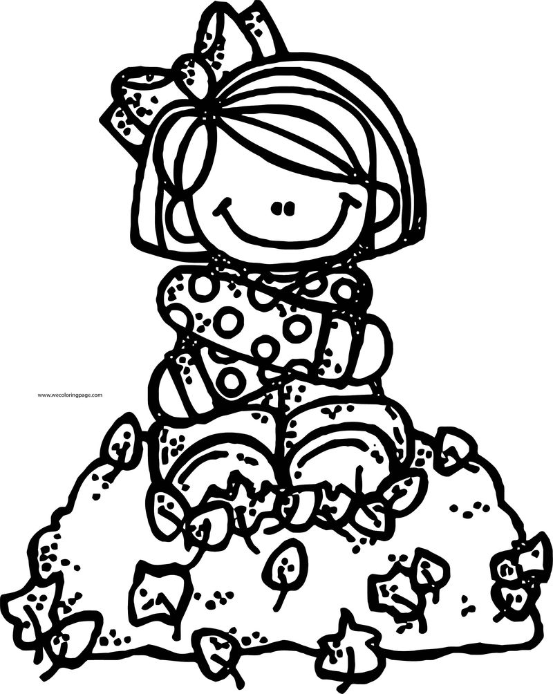 Fall Girl Kids Coloring Page