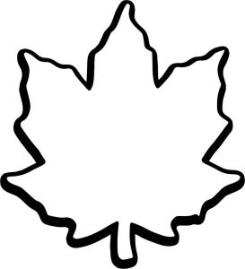 Fall leaf coloring page 1