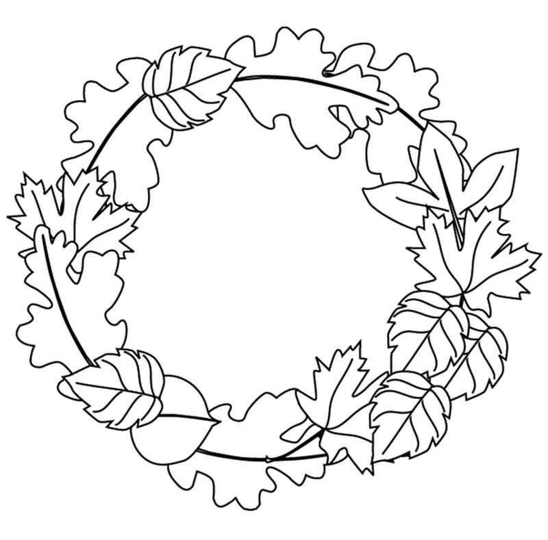 Fall Leaves Arrangement Coloring Page