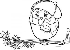 Fall owl bird coloring page