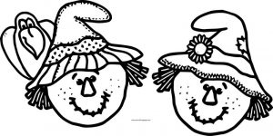 Fall scarecrow faces coloring page