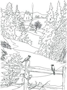 Fall scene coloring pages for adults