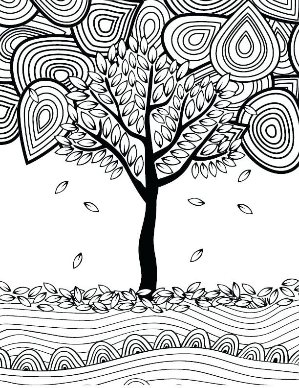 Fall Tree Coloring Pages For Adults