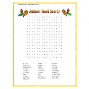 Fall word search for kids activity 001