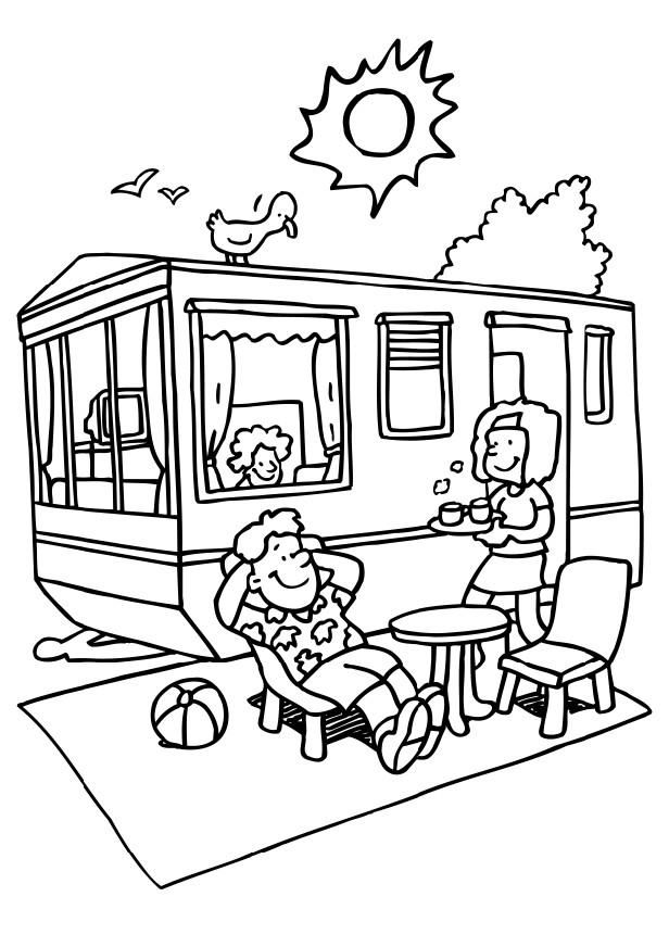 Family Campground Coloring Page 001