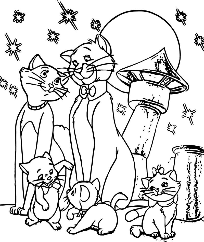 Family Disney The Aristocats Coloring Page