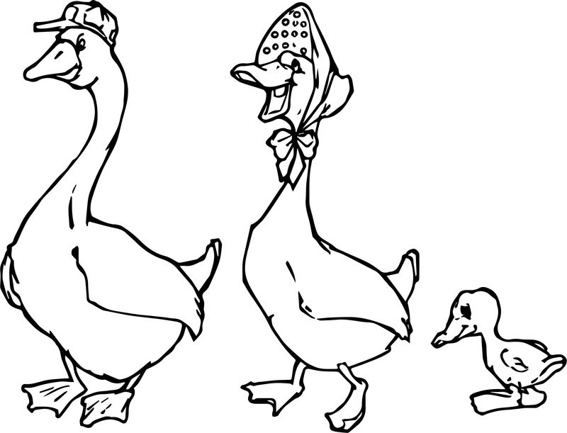 Family Duck Coloring Page