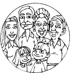 Family faces coloring page