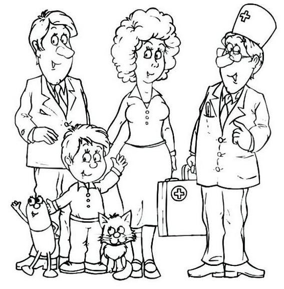 Family Going To Vet Coloring Pages
