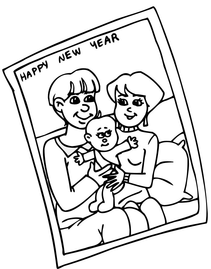 Family Happy New Year Coloring Pages
