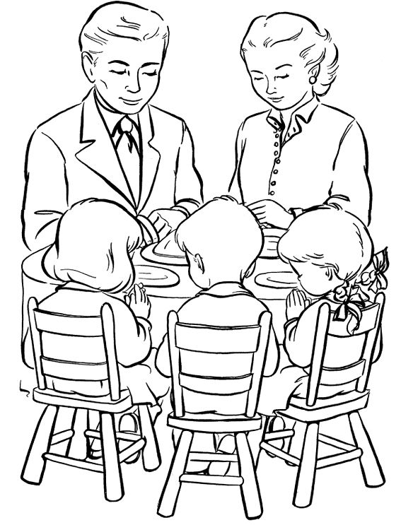 Family Have A Dinner Coloring Page