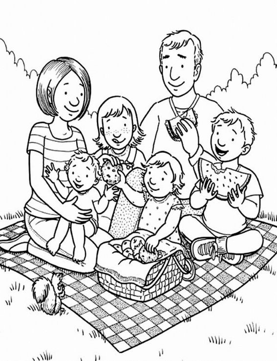 Family Having A Picnic Coloring Pages