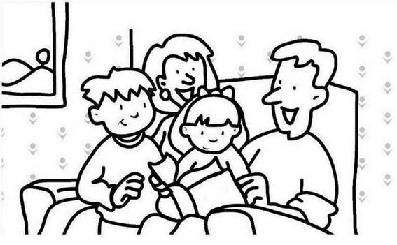 Family In Sofa Coloring Pages