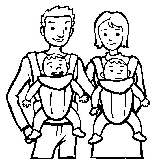Family With Babies Coloring Page