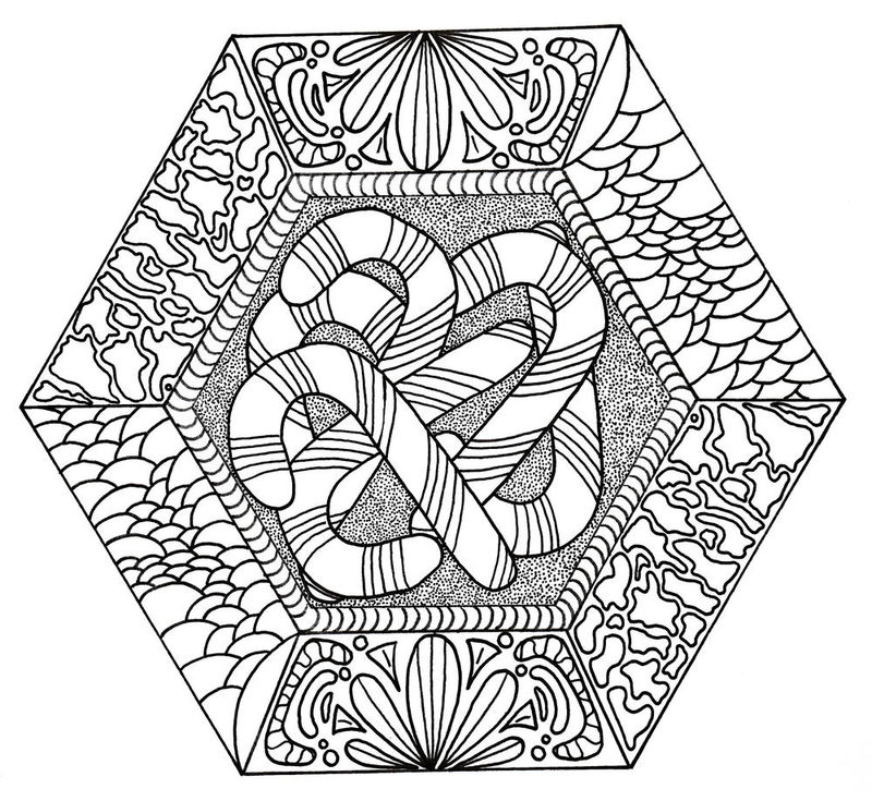 Fancy Candy Canes Coloring Page For Adults