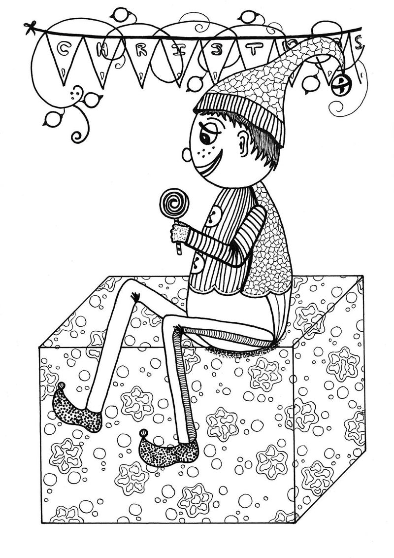 Fancy Christmas Elf Coloring Page Coloring Sheets
