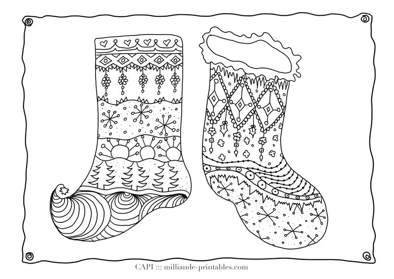 Fancy Christmas Stocking Coloring Printable For Adults