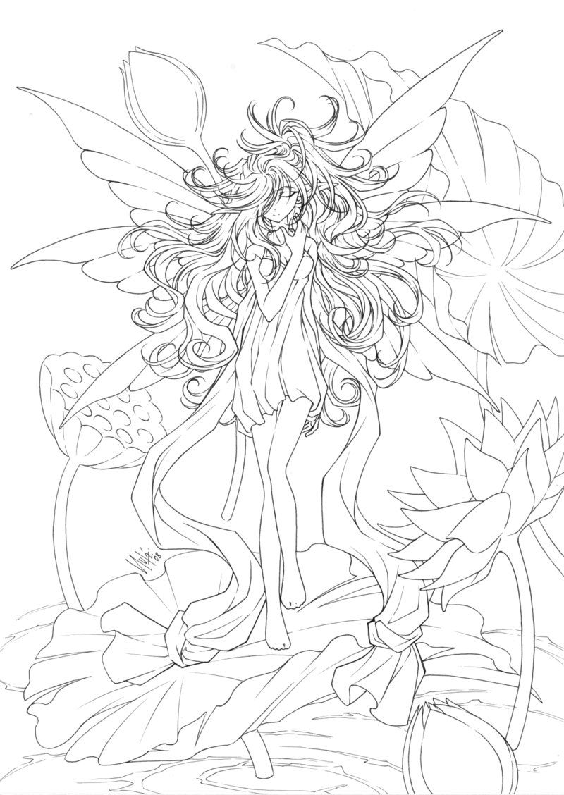 Fancy Fairy Coloring Pages For Adults