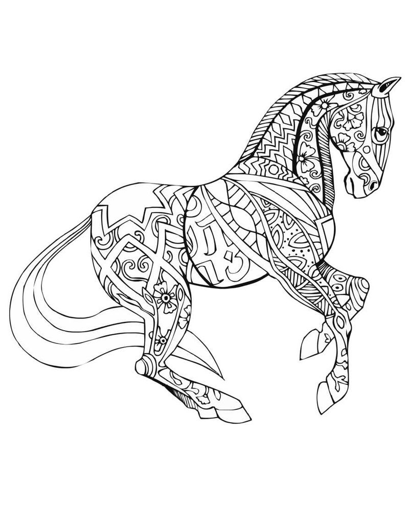 Fancy Pattern Horse Coloring Page For Adults
