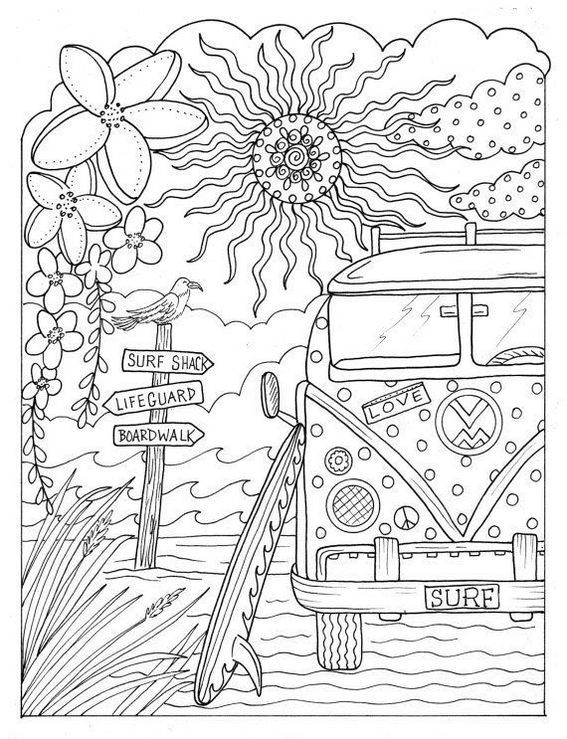 Fantastic And Charming Volkswagen Bus Coloring Page
