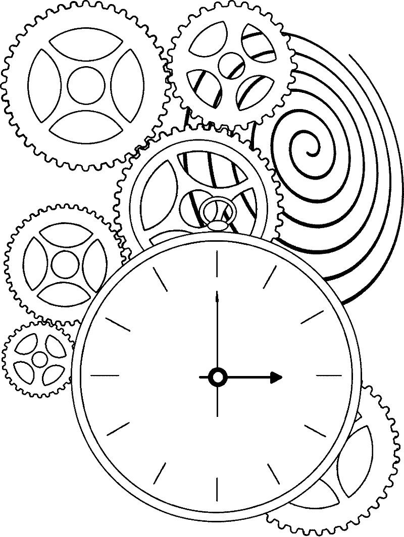 Fantastic Machine Clock Coloring Page