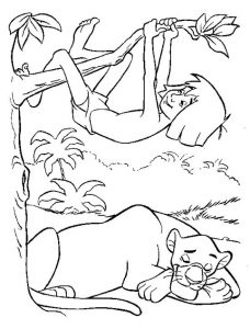 Fantastic mowgli and bagheraa the jungle book coloring pages