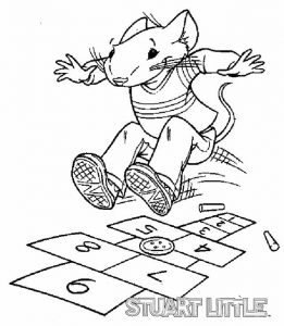 Fantastic stuart little playing a hopscotch game coloring sheets