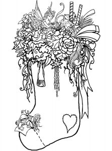 Fantasy christmas stocking coloring page for adults