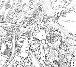 Fantasy coloring pages adults