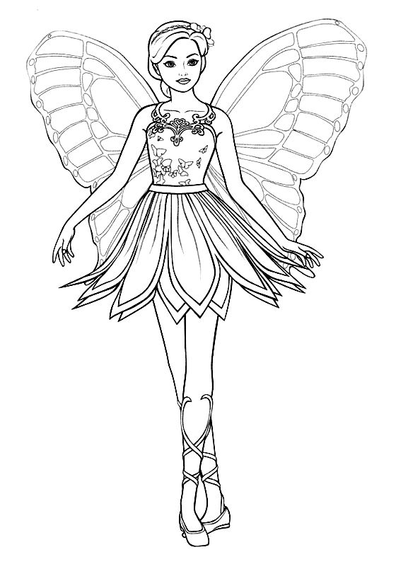 Fantasy Coloring Pages Ballerina Butterfly 001