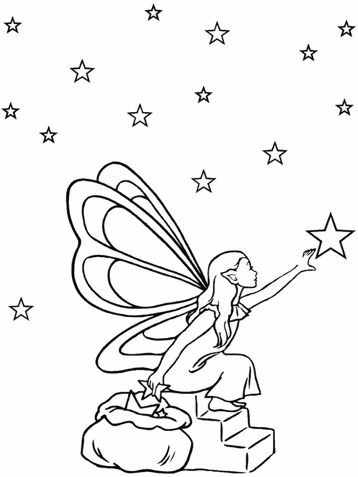 Fantasy Coloring Pages Fairy Gathering Stars 001