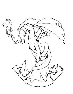 Fantasy coloring pages mountaintop dragon 001