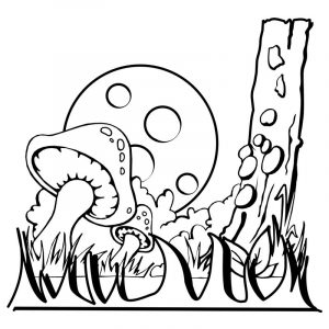 Fantasy coloring pages mushroom 001