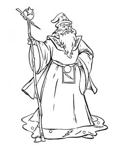 Fantasy coloring pages powerful wizard 001