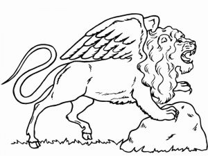 Fantasy coloring pages winged lion 001