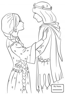 Fantasy prince and princess coloring page