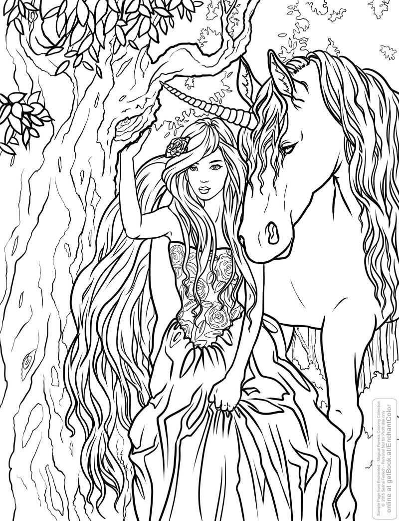 Fantasy Unicorn And Woman Coloring Pages Coloring Sheets