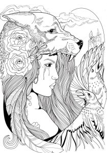 Fantasy wolf coloring pages
