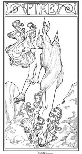 Fantasy woman coloring pages for teens